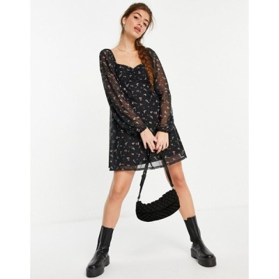 エイソス ミディドレス レディース ASOS DESIGN mesh ruched front mini dress with long sleeves in black floral エイソス ASOS ブラック 黒