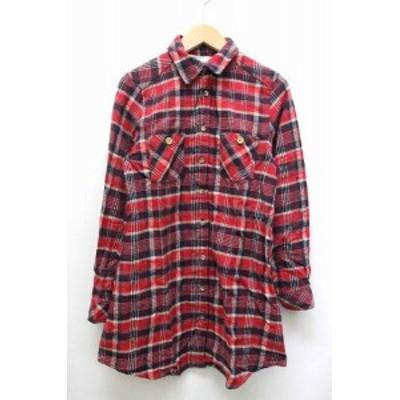 【中古】pipue de pique ネルシャツ フランネル チェック 柄 シンプル 長袖 M レッド 赤 /BT9 レディース