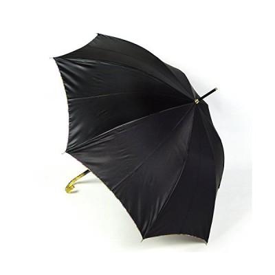 レディース雨傘 長傘 リバーシブルフラワー エイト 23218 ブラック 外側無地 内側花柄 おしゃれ ジャンプ傘 日本製
