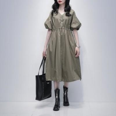 送料無料 2色 夏新作大きいサイズ ワンピースドレス ワンピース 膝丈 フレアワンピース ウエストマーク ワンピ Vネック レディース バル