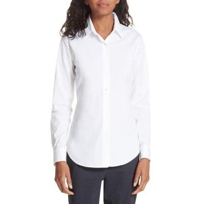 セオリー シャツ トップス レディース Tenia Cotton Blend Blouse White