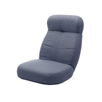 大型 座椅子/フロアチェア 〔ブルー〕 幅62cm 日本製 スチールパイプ ポケットコイルスプリング 〔リビング〕〔代引不可〕