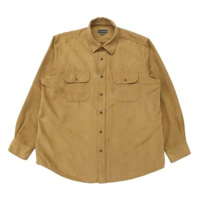 フェイクスウェードシャツ 長袖 イエローブラウン サイズ表記:XL