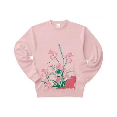野草と野花と猫 トレーナー(ライトピンク)