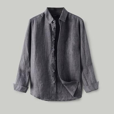 リネンシャツ メンズ 綿麻シャツ 麻シャツ ゆったり 長袖シャツ トップス 無地 メンズファッション カジュアルシャツ 通気 リネン 綿 麻 2020新作 秋服