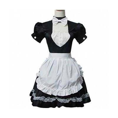 超萌えメイド風衣装 ロリータ風 ハロウィン パーティー コスプレメイド服 黒白 ワンピース 喫茶風 少女風 かわいいメイド服 レーススカート