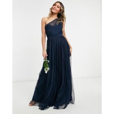アナヤ Anaya レディース ワンピース ワンピース・ドレス With Love Bridesmaid Tulle One Shoulder Maxi Dress In Navy ネイビー