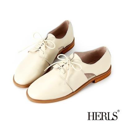HERLS牛津鞋 柔軟全真皮側鏤空圓頭德比牛津鞋 米色