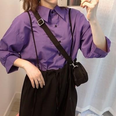 シャツ 長袖 カジュアル 紫 パープル 着回し レトロ シック 無地 シンプル FREE ワンサイズ