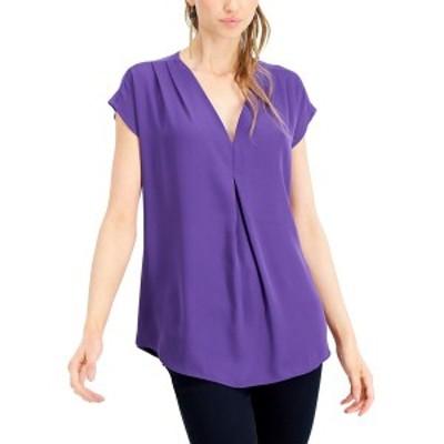 アイエヌシーインターナショナルコンセプト レディース カットソー トップス INC Inverted-Pleat V-Neck Top, Created for Macy's Purple
