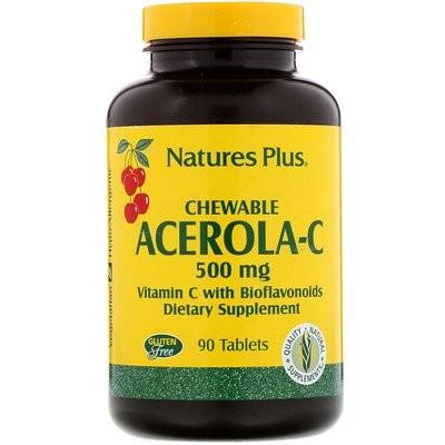 チュアブルアセロラC、バイオフラボノイド配合ビタミンC、500mg、90粒
