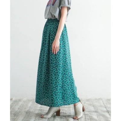 スカート グラデーションフラワー ロングスカート