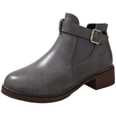 [ネモフィオール] サイドゴア ショートブーツ 厚底ブーツ エンジニアブーツ ベルト 厚底 4cm レディース 24.0cm, グレー