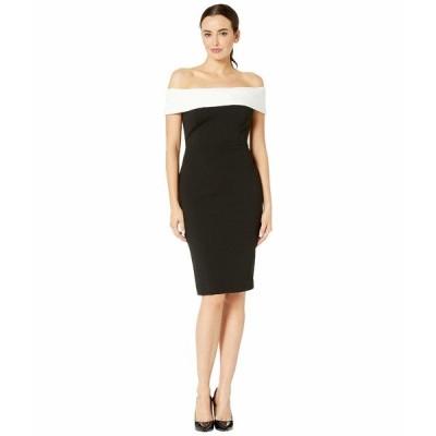 カルバンクライン ワンピース トップス レディース Off-the-Shoulder Color Block Sheath Dress Black/Cream