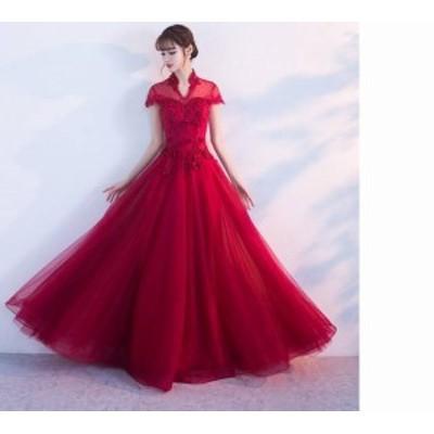 ワンピース ドレス ロング丈 半袖 立ち襟 エレガント レース きれいめ パーティ お呼ばれ フォーマル 20代 30代 春夏 b535