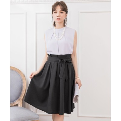 【ドレス スター】 プチハイネックタックブラウス×ウエストリボンAラインスカート レディース グレー Mサイズ DRESS STAR