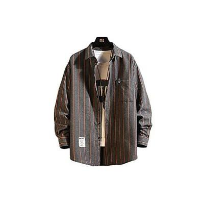 [メリュエル] 2カラー M〜2XL 春秋 ストライプ シャツジャケット カジュアル シャツ ゆったり お洒落 羽織 ボタンダウンシャツ おおきいサイ