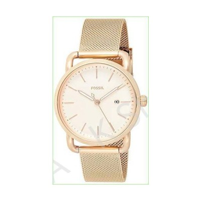 Fossil Women's The Commuter Quartz Stainless Steel Mesh Casual Watch Strap, Rose Gold, 16 (Model: ES4333)--並行輸入品--