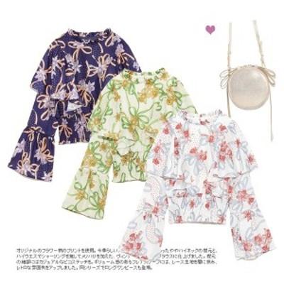 シフォンブラウス 長袖 花柄 ストライプ柄 レディース シャツ ゆったり ブラウス 体型カバー 女性用 夏物 トップス