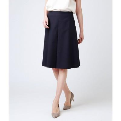 ニューヨーカー NEWYORKER 【ウォッシャブル】ポリコットンシャンブレー Aラインスカート (ネイビー)