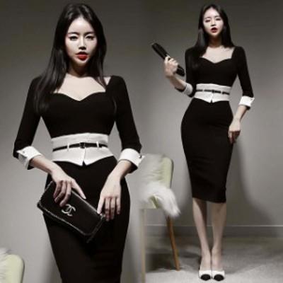 ブラック ワンピース ドレス 結婚式 二次会 お呼ばれドレス 20代 30代 40代 韓国風 タイトワンピース 7分袖 エレガント パーティードレス