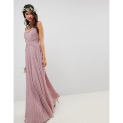 エイソス レディース ワンピース トップス ASOS DESIGN Pleated Paneled Cami Maxi Dress With Lace Inserts Dusty pink