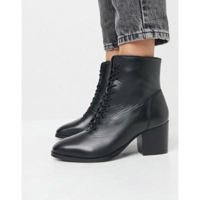 ユアーズ Yours レディース ブーツ ショートブーツ レースアップブーツ シューズ・靴 Lace Up Leather Ankle Boots In Black ブラック