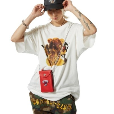 tシャツ Tシャツ 【SUNDAY OFF CLUB】Torn Saddy Bear Artwork T-shirt