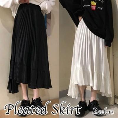 プリーツスカート レディース ロング丈 Aライン シンプル 無地 春夏 かわいい カジュアル ブラック ホワイト フリーサイズ