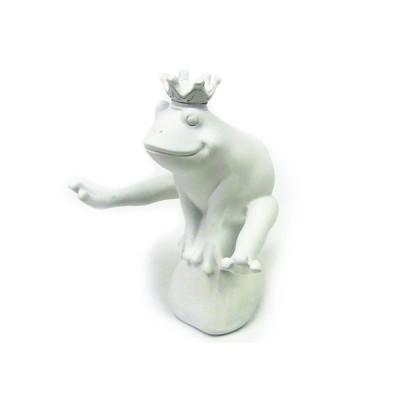 蛙の置物 ジャンプフロッグ 跳ぶ白い王冠カエル