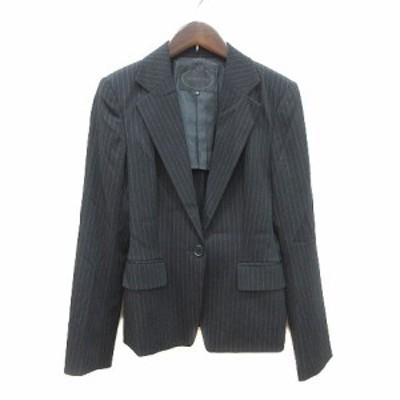 【中古】アンタイトル UNTITLED テーラードジャケット シングル 背抜き ストライプ ウール 2 黒 ブラック レディース