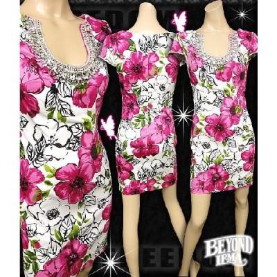 ドレス irma ミニドレス キャバ ドレス フォーマルドレス ドレスフォーマル パーティードレス フリーダム ドレス 手描き風花柄プリントミニドレス