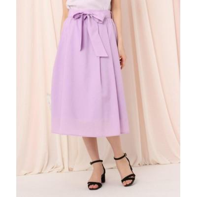 (Couture Brooch/クチュール ブローチ)【WEB限定(LL)サイズあり/洗える】リボンベルトボイルフレアスカート/レディース ライトパープル(081)
