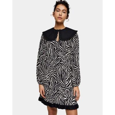 トップショップ Topshop レディース ワンピース ワンピース・ドレス zebra print oversized collar mini tea dress in monochrome