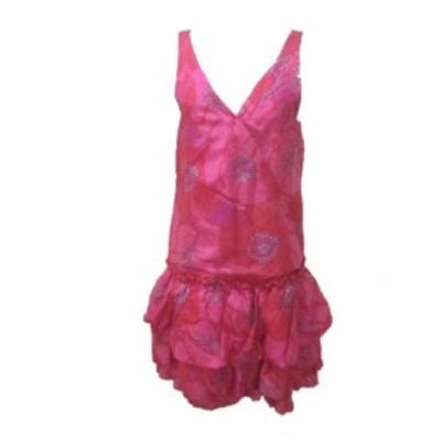 【中古】マークジェイコブス MARC JACOBS ワンピース ひざ丈 ノースリーブ カシュクール シルク 絹 花柄 ピンク 4 Mサイズ相当