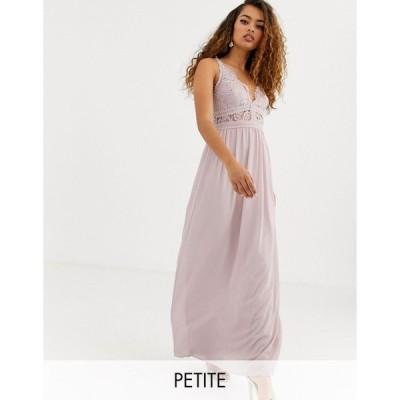 ティーエフエヌシー ミディドレス レディース TFNC Petite Bridesmaid halter neck maxi dress with lace inserts in taupe エイソス ASOS