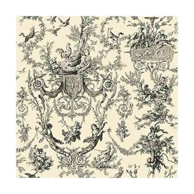 (新品) York Wallcoverings Black and White Chandelier Damask Removable Wallpaper, Ivory/Black