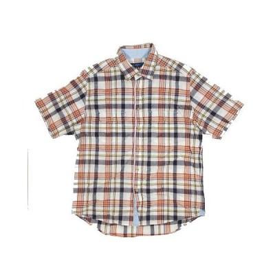 【中古】ゴールデンベア GOLDEN BEAR チェック柄 シャツ 半袖 胸ポケット 綿麻 サイズL レッド系 ◎9 メンズ 【ベクトル 古着】