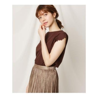 クチュール ブローチ Couture brooch フレンチスリーブ刺繍カットソー (ブラウン)