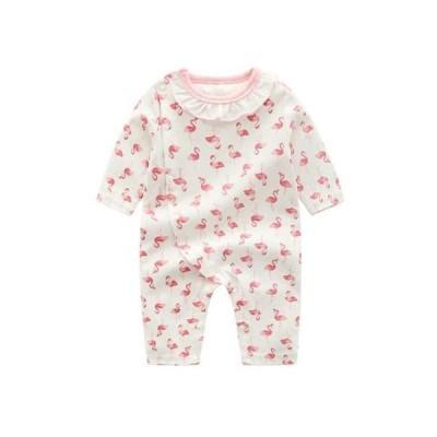 ベビー服 長袖ロンパース 前開き 襟付き 新生児 女の子 春秋 綿 カバーオール 赤ちゃん フラミンゴプリント (ホワイト 66)