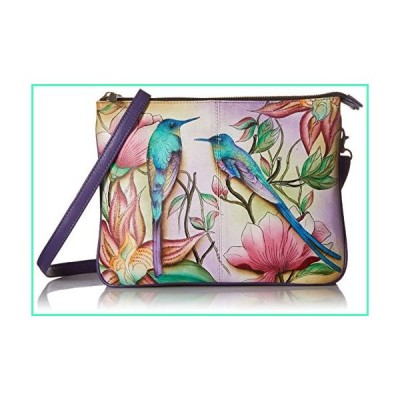 Anuschka Women's Leather Triple Compartment Crossbody | Hand Painted Original Artwork | Spring Passion並行輸入品