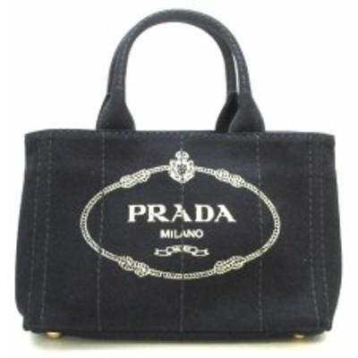 プラダ PRADA トートバッグ レディース 美品 CANAPA 1BG439 黒 キャンバス【中古】20200530