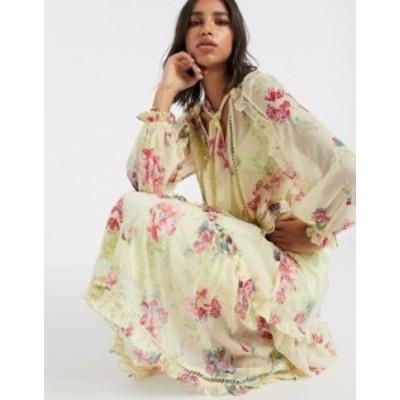 エイソス レディース ワンピース トップス ASOS DESIGN button through soft maxi dress in vintage floral print Floral print