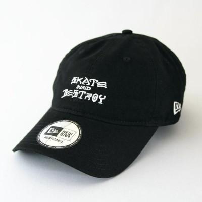 ニューエラ NewEra×THRASHER 帽子 930 9THIRTY スラッシャー SKATE AND DESTROY ブラック × ホワイト