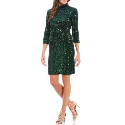 ドナモーガン レディース ワンピース トップス Stretch Sequin Velvet Open Back 3/4 Sleeve Mini Dress Green