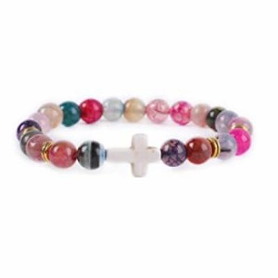 Cross Bracelet Fashion Religion Cross Natural Stone Beads Bracelet Elastic Link Prayer Bracelet Bangle for Men Women