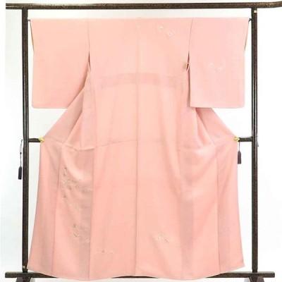 リサイクル着物 訪問着 正絹ピンク地花柄刺繍袷付下訪問着着物