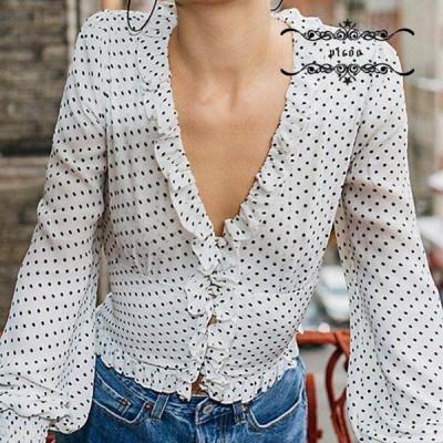 Vネック 長袖 夏服 おしゃれ 着痩せ レディース Tシャツ 人気 波点 20代30代40代 腰を下ろす