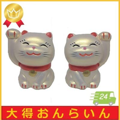 [PLUS COMFORT] 招き猫 ペア 両手 陶器 お土産 日本 自宅 置物 (銀)