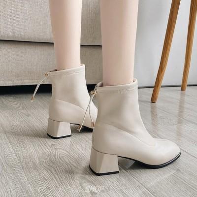 スクエアトゥ ショートブーツ レディース ハイカット ブーティー 合成皮革 靴 チャンキーヒール 太めヒール カジュアルシューズ 美脚 歩きやすい お洒落